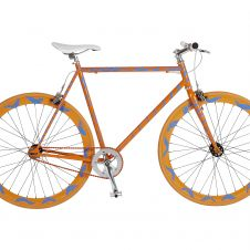Art-Bike by Stefan Szczesny, handpainted bicycle orange