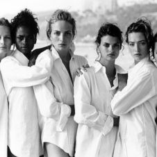 VOGUE U.S.A., Santa Monica, California, 1988           Estelle Lefebure, Karen Alexander, Rachel Williams, Linda Evangelista, Tatjana Patitz, Christy Turlington