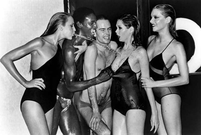 Swimwear (Jerry Hall spitting), Vogue, Paris, 1978