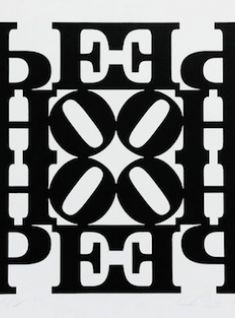 Robert Indiana - Hope Wall: Black and White, 2009