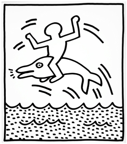 Gift coloring pages for Keith haring figure templates